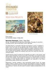 Nermine Hammam: Cairo, Year One-Press Release - The Mosaic ...