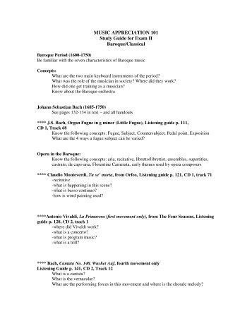 Music Appreciation (A) Unit 2 Test Review