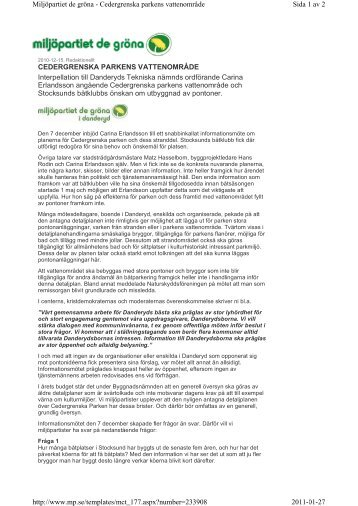 Interpellation - Miljöpartiet de gröna