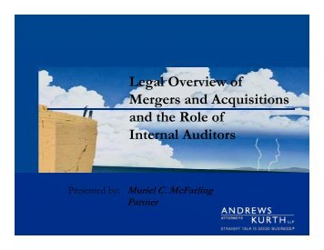 Legal Overview of Mergers and Acquisitions ... - IIA Dallas Chapter