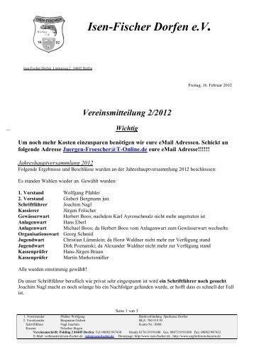 Vereinsmitteilung 2/2012 Wichtig - Isen-Fischer Dorfen