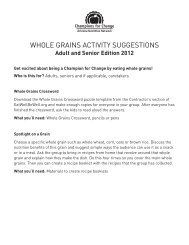 whole grains activity suggestions - Arizona Nutrition Network