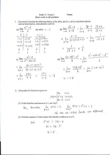 Solution keys to Test 2