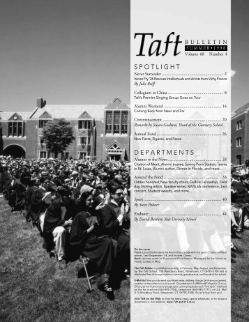 D E P A R T M E N T S S P O T L I G H T - The Taft School