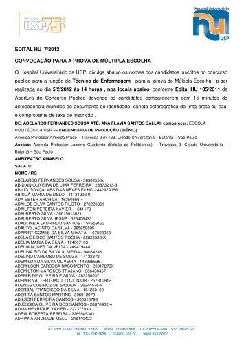 EDITAL HU 7/2012 CONVOCAÇÃO PARA A PROVA DE MÚLTIPLA ...