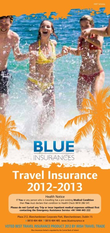 Travel Insurance 2012-2013 - Blue Insurances
