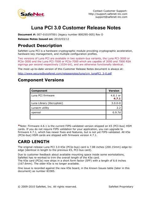 Luna PCI 3 0 Customer Release Notes - SafeNet