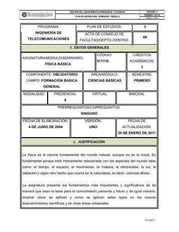 PROGRAMA: INGENIERÍA DE TELECOMUNICACIONES PLAN DE ...