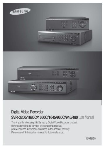 Samsung SVR-3200 User Manual