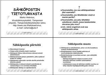 SÄHKÖPOSTIN TIETOTURVASTA - Tietojenkäsittelytieteiden laitos ...