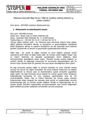 MSDS Bitumen Primer - Issue Date : October 2008 - Bitumex.com.tr