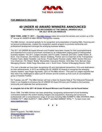 40 UNDER 40 AWARD WINNERS ANNOUNCED - Ning