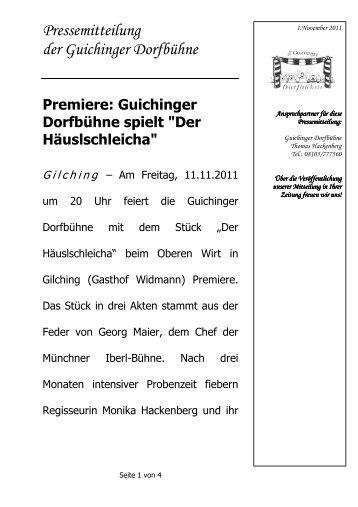 Pressemitteilung der Guichinger Dorfbühne - Kultur, Kultur, Kultur