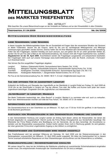 Mitteilungsblatt Des Marktes Triefenstein Markt Triefenstein