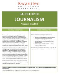 JOURNALISM - Kwantlen Polytechnic University