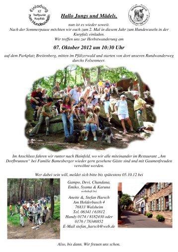 Hallo Jungs und Mädels, 07. Oktober 2012 um 10:30 Uhr