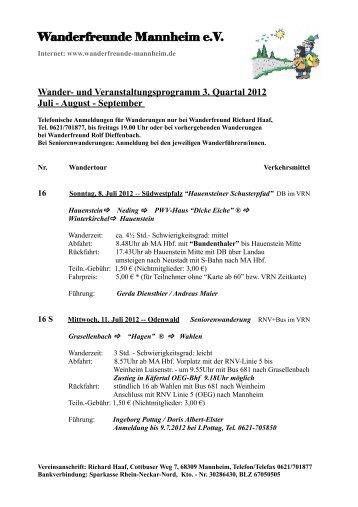 Wander- und Veranstaltungsprogramm 3. Quartal 2012 Juli - August