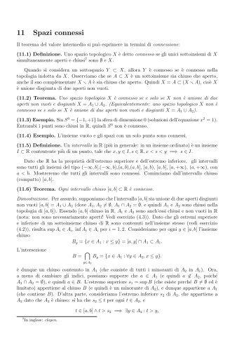 11 Spazi connessi - Matematica e Applicazioni