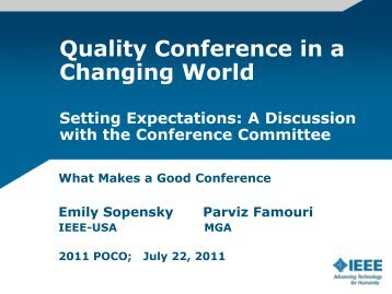 What Makes a Good Conference? - IEEE