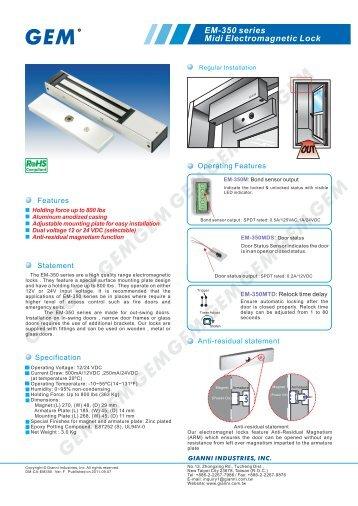 EM-350 series Midi Electromagnetic Lock - GEM,Gianni Industries, Inc.