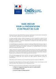 Vade-mecum pour la présentation d'un projet de club - (DRJSCS ...