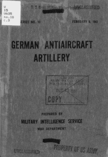 German Antiaircraft Artillery - CGSC