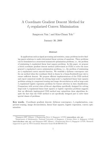 A Coordinate Gradient Descent Method for l1-regularized ... - KIAS
