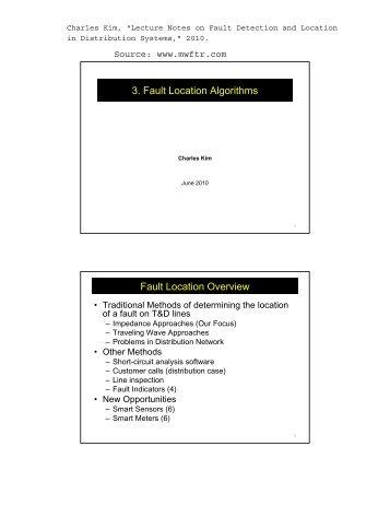 3. Fault Location Algorithms Fault Location Overview - MWFTR