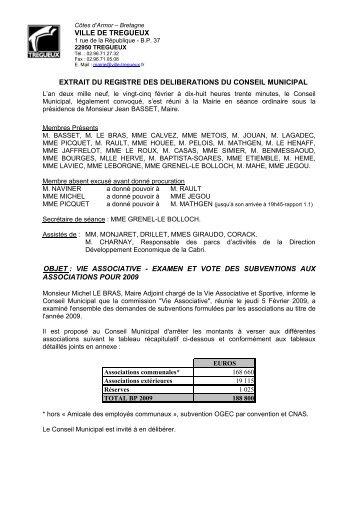 VILLE DE TREGUEUX EXTRAIT DU REGISTRE DES ... - Trégueux