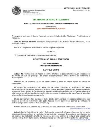 LEY FEDERAL DE RADIO Y TELEVISIÓN - Inegi