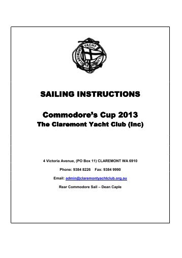 Sail Instructions - Claremont Yacht Club