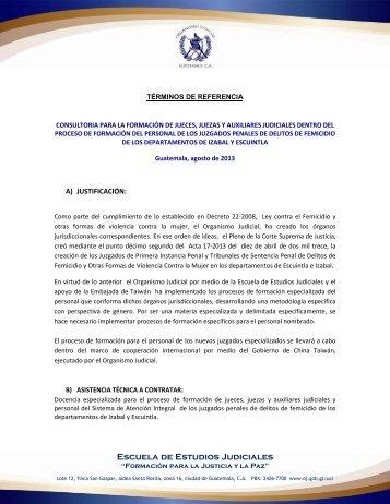 convocatoria: consultoria para la formación de jueces, juezas y ...