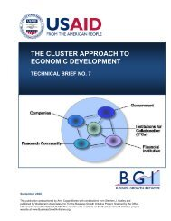 The Cluster Approach to Economic Development - Value Chains