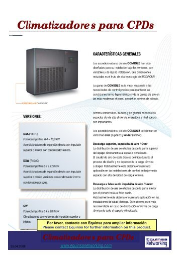 Climatizadores para Climatizadores para CPDs - Equinsa Networking