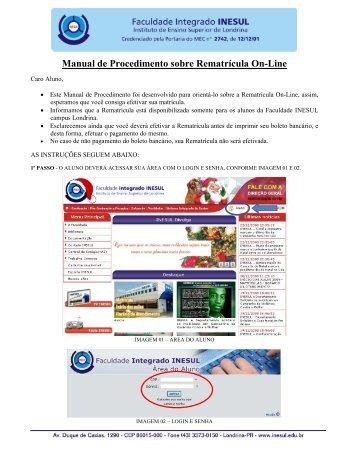 Manual de Procedimento sobre Rematrícula On-Line - Inesul