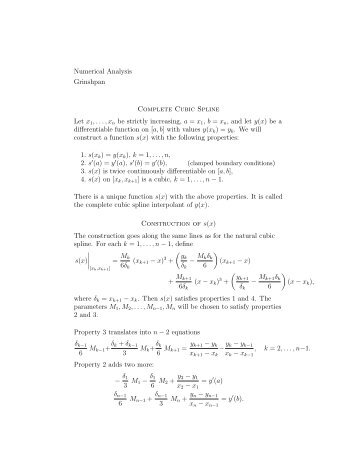 Numerical Analysis Grinshpan Complete Cubic Spline Let x1,...,xn ...