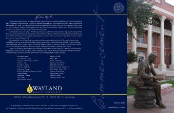 Graduation program - Wayland Baptist University