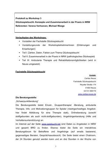 Protokoll zu Workshop 3 - Deutsche Gesellschaft für Suchtpsychologie