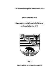 Jahresbericht 2011 Teil 1 - Landesrechnungshof Sachsen-Anhalt
