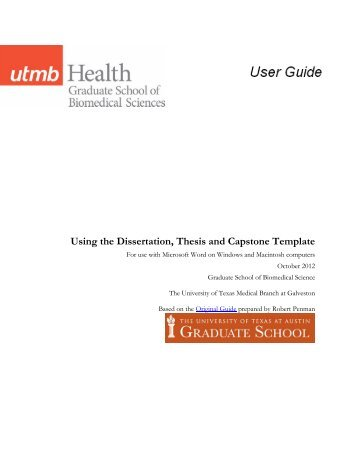 Using the Thesis and Dissertation Templates - The Graduate School ...