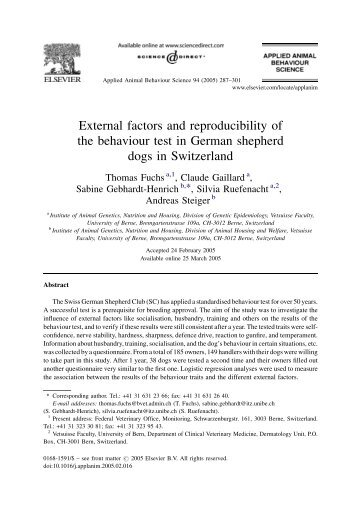 External factors and reproducibility of the behaviour test in German ...
