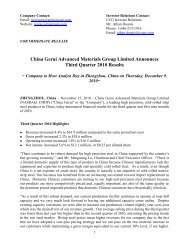 China Gerui Advanced Materials Group Limited Announces Third ...