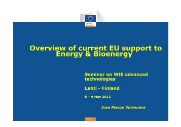 Overview of current EU support to Energy & Bioenergy - Advanced ...
