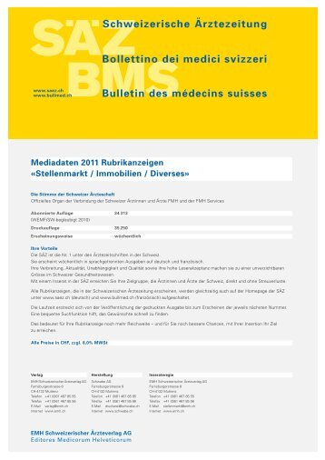 Schweizerische Ärztezeitung Bollettino dei medici ... - Schwabe