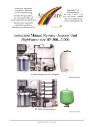 Instruction Manual Reverse Osmosis Unit HighPower size HP 500 ...