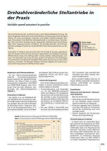 Drehzahlveränderliche Stellantriebe in der Praxis - SIPOS Aktorik