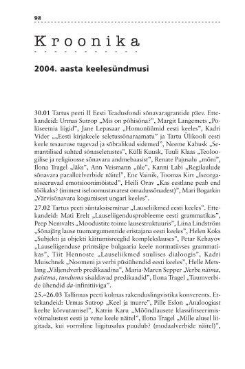 2004. aasta keelesündmusi - Emakeele Selts