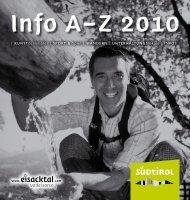 Info A–Z 2010 - Tourismusverband Eisacktal