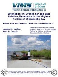 Estimation of Juvenile Striped Bass Relative Abundance in the ...