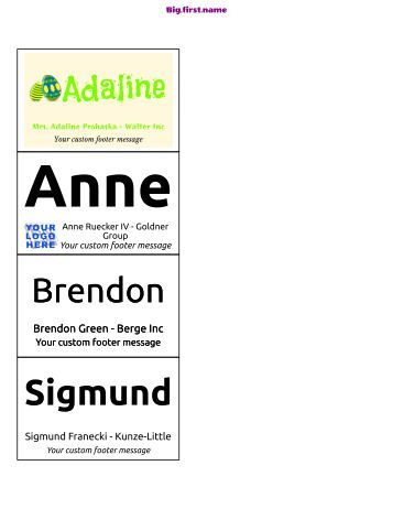 templates big first name portrait name badge software templates